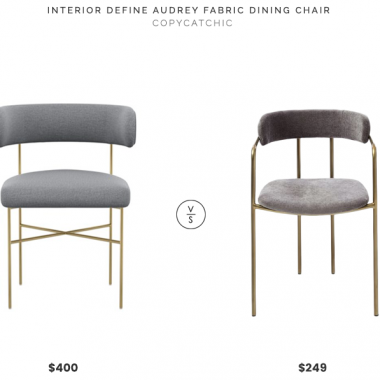 Interior Define Audrey Fabric Dining Chair $400 vs. West Elm Lenox Velvet Dining Chair $249, gold and gray dining chair look for less, copycatchic luxe living for less, budget home decor and design, daily finds, home trends, sales, budget travel and room redos