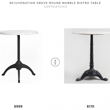 Rejuvenation Grove Round Marble Bistro Table$999 vs. World Market Marble Bistro Accent Table $170, marble bistro table look for less, copycatchic luxe living for less, budget home decor and design, daily finds, home trends, sales, budget travel and room redos