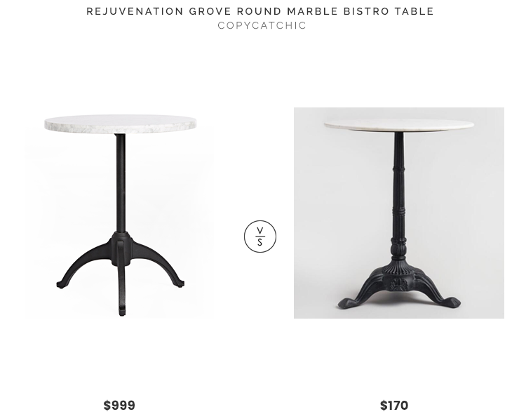 Rejuvenation Grove Round Marble Bistro Table $999 vs. World Market Marble Bistro Accent Table $170, marble bistro table look for less, copycatchic luxe living for less, budget home decor and design, daily finds, home trends, sales, budget travel and room redos