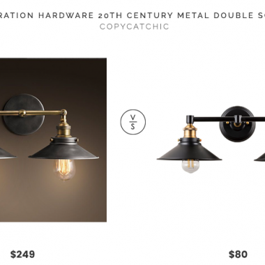 Restoration Hardware 20th C. Factory Filament Metal Double Sconce $249 vs. Amazon Andante LED Industrial 2 Light Wall Sconce $80, black double sconce look for less, copycatchic luxe living for less, budget home decor and design, daily finds, home trends, sales, budget travel and room redos
