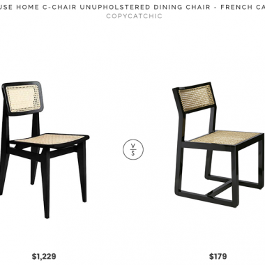 Rouse Home C-Chair Dining Chair  $1,229 vs. CB2 Makan Black Wood and Cane Chair $179, black cane dining chair look for less, copycatchic luxe living for less, budget home decor and design, daily finds, home trends, sales, budget travel and room redos