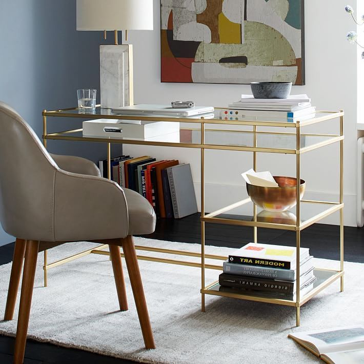 Candelabra Caracole Full Transparency Console Desk$1885 vs. HayneedleBelham Living Lamont Computer Desk $199, gold glass desk look for less, copycatchic luxe living for less, budget home decor and design, daily finds, home trends, sales, budget travel and room redos