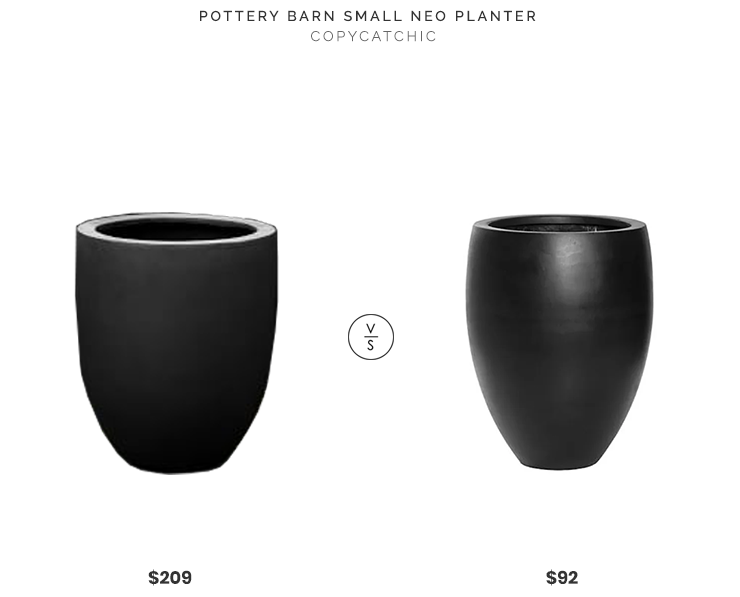 Pottery Barn Small Neo Planter $209 vs. Wayfair Sheller Round Pot Planter $92, black planter look for less, copycatchic luxe living for less, budget home decor and design, daily finds, home trends, sales, budget travel and room redos