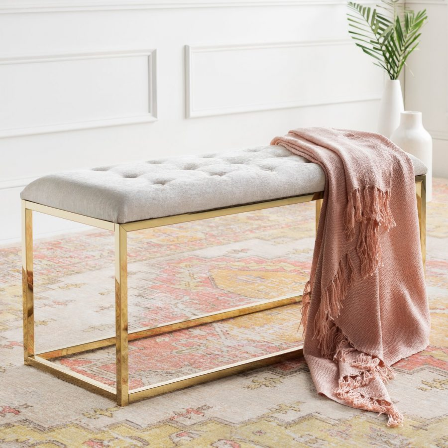 Paynes Gray Jewel Bench $1048 vs. Overstock Safavieh Reynolds Grey/ Brass Glam Bench $232, tufted bench gold base look for less, copycatchic luxe living for less, budget home decor and design, daily finds, home trends, sales, budget travel and room redos