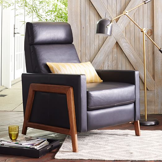 West Elm Spencer Wood Framed Recliner $1699 vs. Grandin Road Belmont Leather Recliner $799, black leather recliner look for less, copycatchic luxe living for less, budget home decor and design, daily finds, home trends, sales, budget travel and room redos