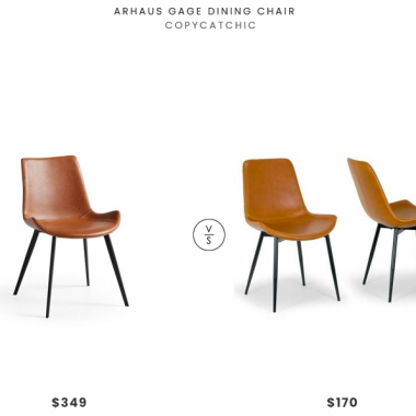 Arhaus Gage Dining Chair $349 vs. Wayfair Glamour Home Decor Alary Upholstered Dining Chair $170 for two, leather dining chair look for less, copycatchic luxe living for less, budget home decor and design, daily finds, home trends, sales, budget travel and room redos