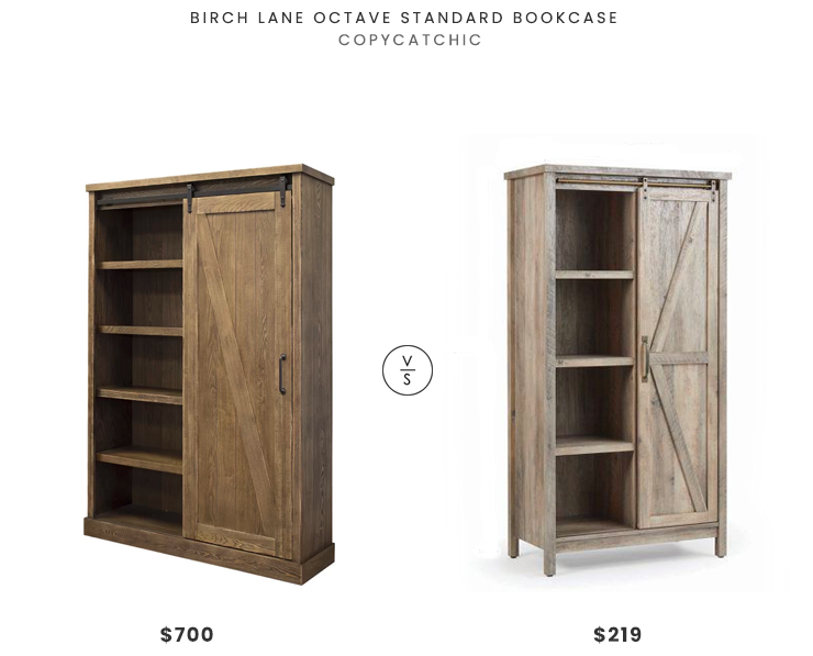Birch Land Octave Standard Bookcase $700 vs. Walmart Modern Farmhouse Storage Bookcase Cabinet $219, barn door bookcase look for less, copycatchic luxe living for less, budget home decor and design, daily finds, home trends, sales, budget travel and room redos