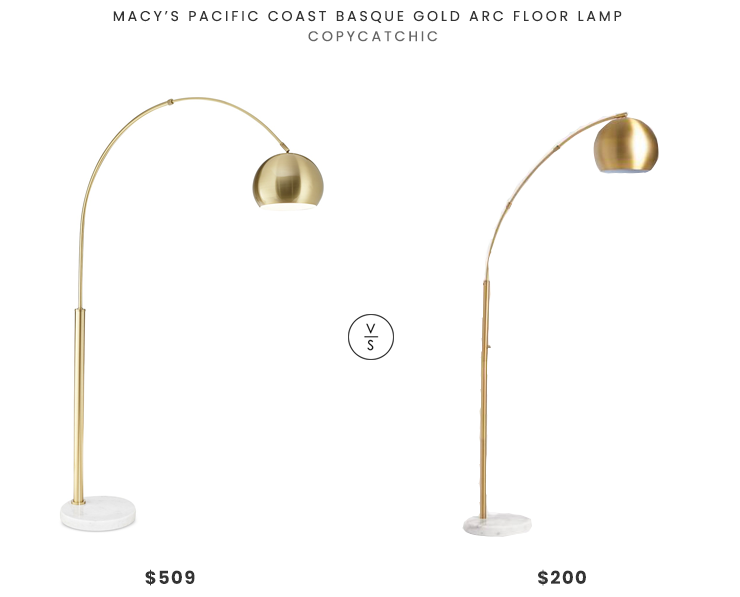 Macy's Pacific Coast Basque Gold Arc Floor Lamp $509 vs. World Market Brass Arc and White Marble Hayden Floor Lamp $200, gold arc floor lamp look for less, copycatchic luxe living for less, budget home decor and design, daily finds, home trends, sales, budget travel and room redos