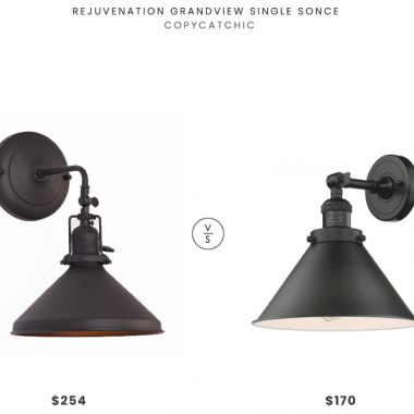 Rejuvenation Grandview Single Sconce $254 vs. Innovations Lighting Briarcliff Single Light Tall Bathroom Sconce $170, metal cone sconce look for less, copycatchic luxe living for less, budget home decor and design, daily finds, home trends, sales, budget travel and room redos