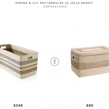Serena and Lily Rectangular La Jolla Basket $248 vs. TJ Maxx Max Studio Large Seagrass Striped Trunk $80, striped basket look for less, copycatchic luxe living for less, budget home decor and design, daily finds, home trends, sales, budget travel and room redos