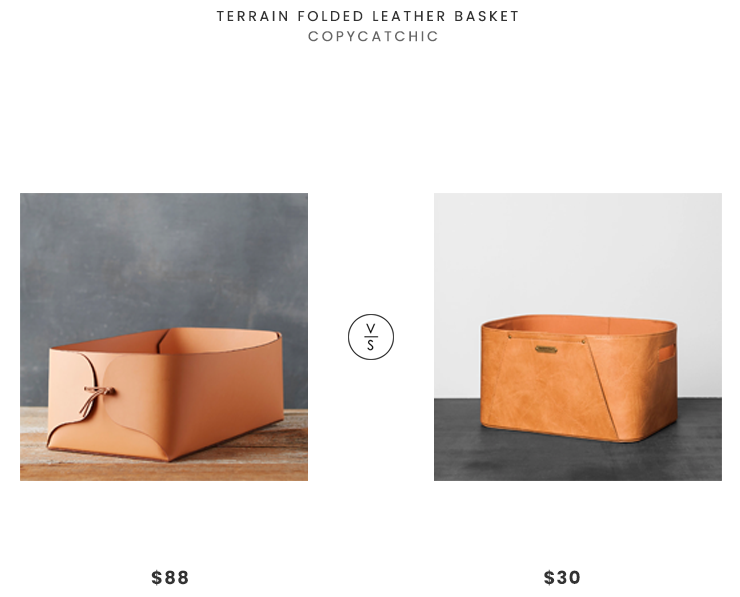 Terrain Folded Leather Basket $88 vs. Hearth & Hand with Magnolia Faux Leather Storage Bin $30, leather basket look for less, copycatchic luxe living for less, budget home decor and design, daily finds, home trends, sales, budget travel and room redos