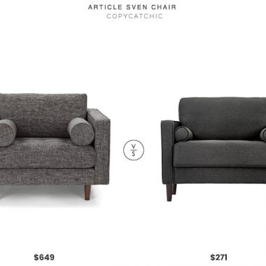 Article Sven Chair $649 vs. All Modern Garren Armchair $271, gray midcentury armchair look for less, copycatchic luxe living for less, budget home decor and design, daily finds, home trends, sales, budget travel and room redos