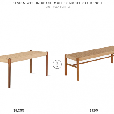 """DWR Moller Model 63A Bench$1,295 vs. Houzz Raholt 52"""" Bench, Teak/Rope$299, woven bench look for less, copycatchic luxe living for less, budget home decor and design, daily finds, home trends, sales, budget travel and room redos"""
