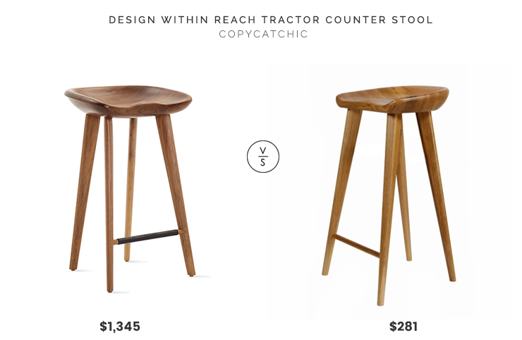 Design Within Reach Tractor Counter Stool $1,345 vs. Overstock Tractor Contemporary Carved Wood Barstool $281, tractor stool look for less, copycatchic luxe living for less, budget home decor and design, daily finds, home trends, sales, budget travel and room redos