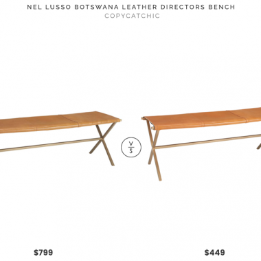 Nel Lusso Botswana Leather Directors Bench $799 vs. CB2 Leather Director's Bench $449, leather bench look for less, copycatchic luxe living for less, budget home decor and design, daily finds, home trends, sales, budget travel and room redos