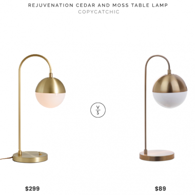 Rejuvenation Cedar and Moss Table Lamp $299 vs. Macy's Safavieh Cappi Arc Table Lamp $89,  gold globe table lamp look for less, copycatchic luxe living for less, budget home decor and design, daily finds, home trends, sales, budget travel and room redos