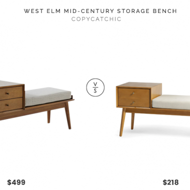 West Elm Mid-Century Storage Bench $499 vs. Belham Living Finn Mid Century Modern Bench $218, midcentury storage bench look for less, copycatchic luxe living for less, budget home decor and design, daily finds, home trends, sales, budget travel and room redos