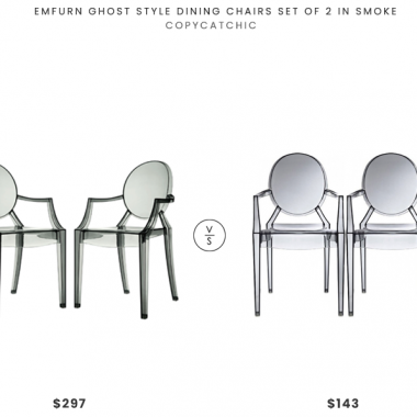 Emfurn Ghost Style Dining Chairs Set of 2 in Smoke $297 vs. Houzz Modern Ghost Armchairs Set of 2, Smoke $143, gray ghost chair look for less, copycatchic luxe living for less, budget home decor and design, daily finds, home trends, sales, budget travel and room redos
