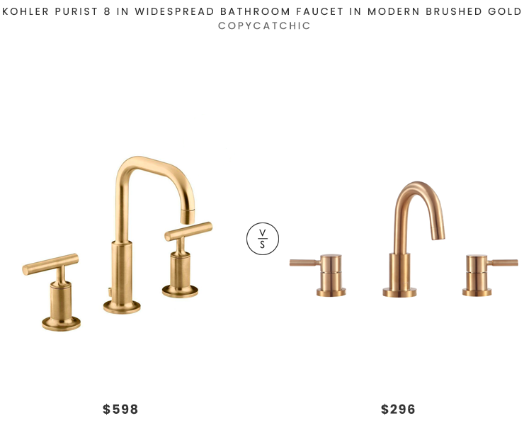 Kohler Purist Widespread Faucet $598 vs. Avanity Positano Faucet in Matte Gold $296, gold bath faucet look for less, copycatchic luxe living for less, budget home decor and design, daily finds, home trends, sales, budget travel and room redos