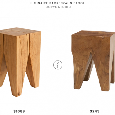 Luminaire Backenzahn Stool$1089 vs. All Modern Square Teak Accent Stool $249, wood accent stool look for less, copycatchic luxe living for less, budget home decor and design, daily finds, home trends, sales, budget travel and room redos