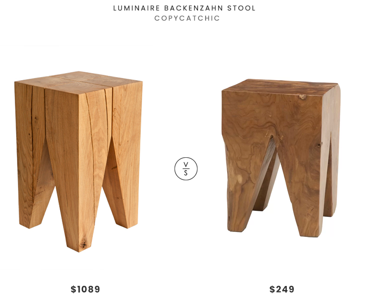 Luminaire Backenzahn Stool $1089 vs. All Modern Square Teak Accent Stool $249, wood accent stool look for less, copycatchic luxe living for less, budget home decor and design, daily finds, home trends, sales, budget travel and room redos