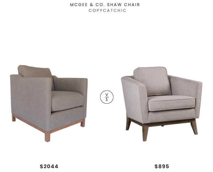 McGee & Co. Shaw Chair $2044 vs. Lulu and Georgia Varley Accent Chair $895, wood base armchair look for less, copycatchic luxe living for less, budget home decor and design, daily finds, home trends, sales, budget travel and room redos