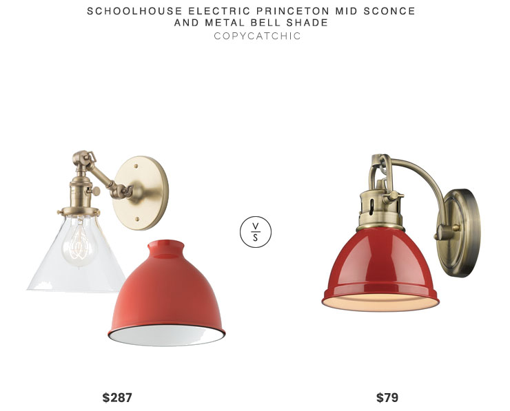 Schoolhouse Princeton Mid Sconce & Metal Bell Shade $287 vs. Home Depot Duncan Aged Brass Sconce $79, red sconce look for less, copycatchic luxe living for less, budget home decor and design, daily finds, home trends, sales, budget travel and room redos