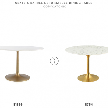 "Crate & Barrel Nero 48"" White Marble Dining Table $1399 vs. LexMod Lippa 47"" Round Dining Table $754, marble dining table gold base look for less, copycatchic luxe living for less, budget home decor and design, daily finds, home trends, sales, budget travel and room redos"