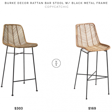 Burke Decor Rattan Bar Stool with Black Metal Frame $303 vs. World Market Natural Whicker Loren Bar Stool $169, rattan bar stool look for less, copycatchic luxe living for less, budget home decor and design, daily finds, home trends, sales, budget travel and room redos