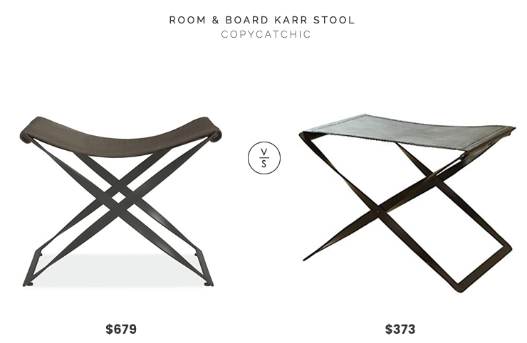 Room & Board Karr Stool in Leather $679 vs. Bellacor Global Views Folding Iron and Brown Leather Stool $373, leather foot stool look for less, copycatchic luxe living for less, budget home decor and design, daily finds, home trends, sales, budget travel and room redos
