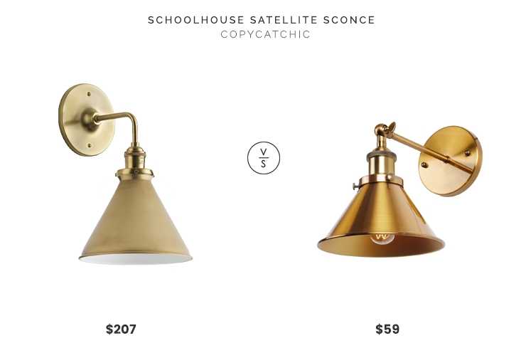 Schoolhouse Satellite Sconce $169 and Metal Slim Cone Shade $38 vs. Overstock Industrial 1-Light Wall Sconce With Metal Cone Shade $59, gold cone sconce look for less, copycatchic luxe living for less, budget home decor and design, daily finds, home trends, sales, budget travel and room redos