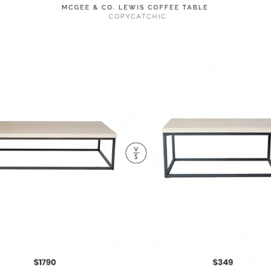 "McGee & Co Lewis Coffee Table (60""l x 32""w x 16.5""h) $1790 vs. West Elm Slab Frame Coffee Table (39.25""l x 19.75w x 17.25""h) $349, box frame coffee table look for less, concrete coffee table look for less, stone top coffee table look for less, copycatchic luxe living for less, budget home decor and design, daily finds, home trends, sales, budget travel and room redos"