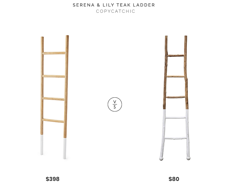 Serena & Lily Teak Ladder $398 vs. Amazon Creative Co-op White Dipped Decorative Ladder $80, white dipped ladder look for less, copycatchic luxe living for less, budget home decor and design, daily finds, home trends, sales, budget travel and room redos