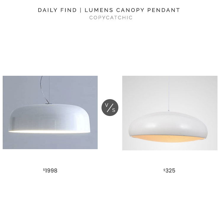 Lumens Canopy Pendant $1998 vs. Hayneedle Whiteline Helen Pendant $325, white pendant light look for less, copycatchic luxe living for less, budget home decor and design, daily finds, home trends, sales, budget travel and room redos