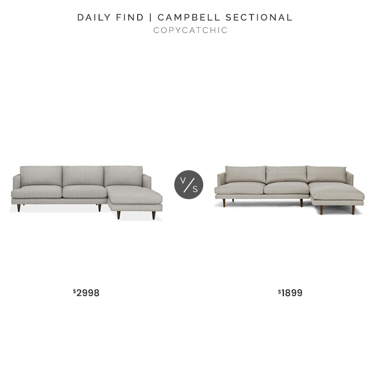Room & Board Campbell Sectional $2998 vs. Article Burrard Sectional $1899, gray sofa with chaise look for less, copycatchic luxe living for less, budget home decor and design, daily finds, home trends, sales, budget travel and room redos