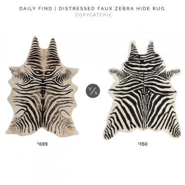 CB2 Distressed Faux Zebra Hide Rug $699 vs. World Market Black and Ivory Faux Zebra Hide Area Rug $150, zebra rug look for less, copycatchic luxe living for less, budget home decor and design, daily finds, home trends, sales, budget travel and room redos