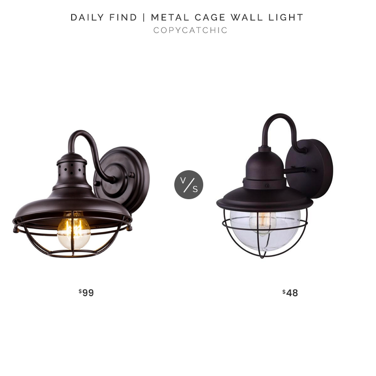 Houzz Metal Cage Wall Light $99 vs. Home Deport CANRAM Lohan Oil Bronzed Outdoor Wall Light $48, cage sconce look for less, copycatchic luxe living for less, budget home decor and design, daily finds, home trends, sales, budget travel and room redos
