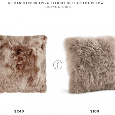 Neiman Marcus Aviva Stanoff Suri Alpaca Pillow $240 vs. Room & Board Sheepskin Modern Throw Pillow $109, taupe fur pillow look for less, copycatchic luxe living for less, budget home decor and design, daily finds, home trends, sales, budget travel and room redos