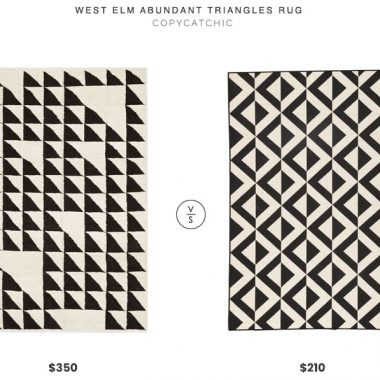 West Elm Abundant Triangles Rug $350 vs. Lulu and Georgia Tri-Montage Rug $210, black and white triangle rug look for less, copycatchic luxe living for less, budget home decor and design, daily finds, home trends, sales, budget travel and room redos