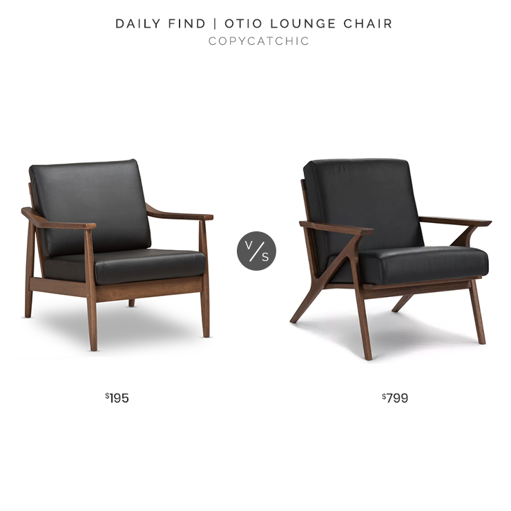 Article Otio Black Leather Lounge Chair $799 vs. Venza Mid-Century Modern Walnut Wood Black Faux Leather Lounge Chair $195, black leather midcentury chair look for less, copycatchic luxe living for less, budget home decor and design, daily finds, home trends, sales, budget travel and room redos