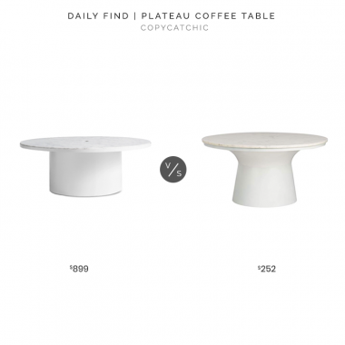 Blu Dot Plateau Coffee Table $899 vs. Amazon Safavieh Marble & White Pedestal Coffee Table $252, marble coffee table look for less, copycatchic luxe living for less, budget home decor and design, daily finds, home trends, sales, budget travel and room redos
