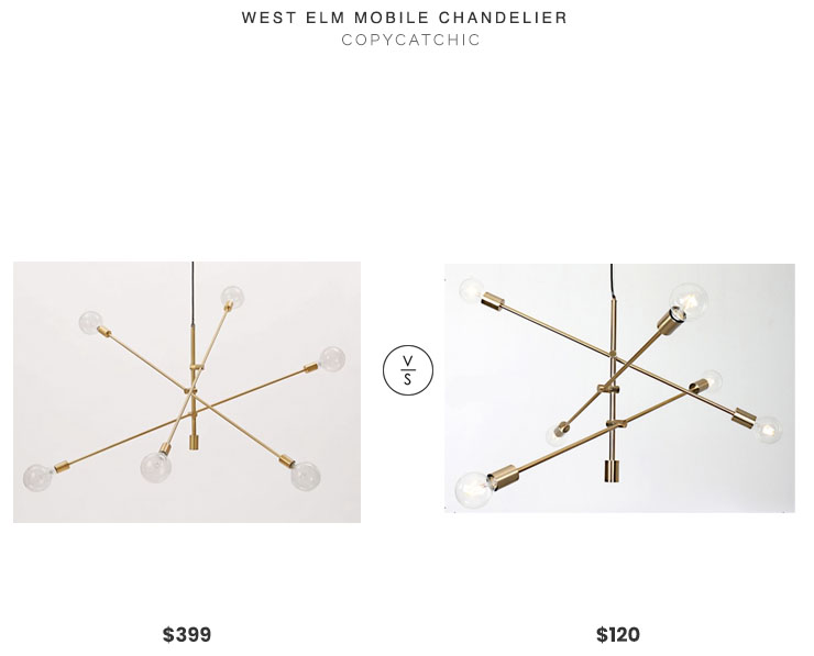 West Elm Mobile Chandelier$399 vs. Lobster Plus Adjustable Sputnik Chandelier $120, brass mobile chandelier look for less, copycatchic luxe living for less, budget home decor and design, daily finds, home trends, sales, budget travel and room redos