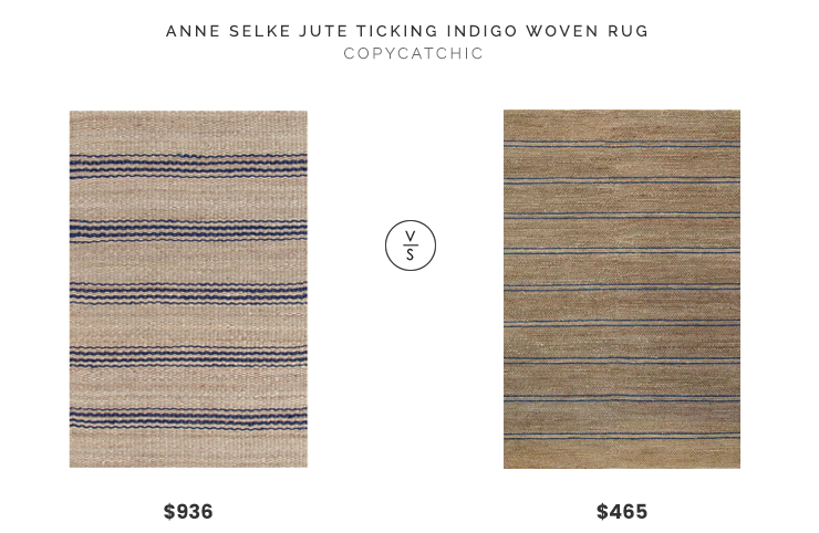 Anne Selke Jute Ticking Indigo Woven Rug (8x10) $936 vs. Overstock Kosas Home Stormie Jute Rug (8x10) $465, navy stripe jute rug look for less, copycatchic luxe living for less, budget home decor and design, daily finds, home trends, sales, budget travel and room redos