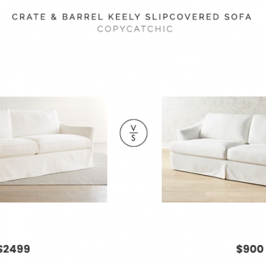 Crate & Barrel Keely Slipcovered Sofa $2499 vs. Pier1 Mika Pierformance Ivory Slipcovered Sofa $900, white skirted sofa look for less, copycatchic luxe living for less, budget home decor and design, daily finds, home trends, sales, budget travel and room redos
