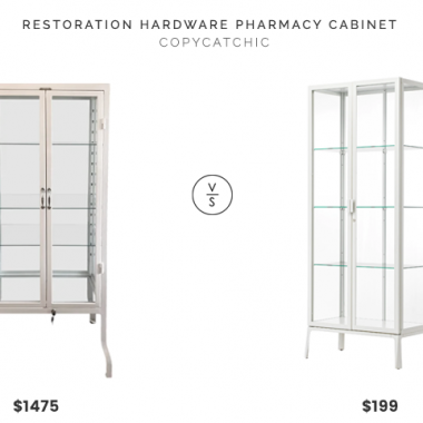 Restoration Hardware Pharmacy Cabinet $1475 vs. IKEA MILSBO Glass-Door Cabinet $199, white pharmacy cabinet look for less, copycatchic luxe living for less, budget home decor and design, daily finds, home trends, sales, budget travel and room redos