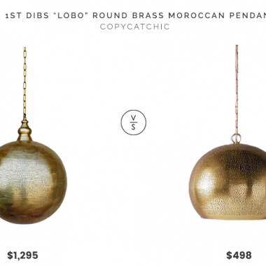 "1st Dibs ""Lobo"" Round Brass Moroccan Pendant $1,295 vs. Anthropologie Pierced Metal Pendant $498, pierced pendant light look for less, copycatchic luxe living for less, budget home decor and design, daily finds, home trends, sales, budget travel and room redos"