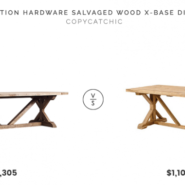 Restoration Hardware Salvaged Wood X-Base Dining Table $4,305 vs. Shades of Light Double X Farmhouse Extendable Dining Table $1,104, x base dining table look for less, copycatchic luxe living for less, budget home decor and design, daily finds, home trends, sales, budget travel and room redos