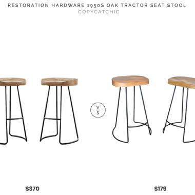 Restoration Hardware 1950s Oak Tractor Seat Counter Stools $370 ($185 each) vs. Carolina Chair & Table Vale Counter Stools $179 (set of 2), tractor stool look for less, copycatchic luxe living for less, budget home decor and design, daily finds, home trends, sales, budget travel and room redos