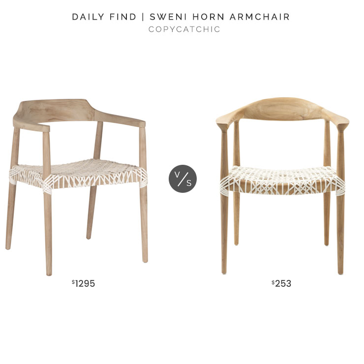 Green Design Gallery Sweni Horn Armchair $1295 vs. Overstock Safavieh Bandelier Armchair $253, rope dining chair look for less, copycatchic luxe living for less, budget home decor and design, daily finds, home trends, sales, budget travel and room redos