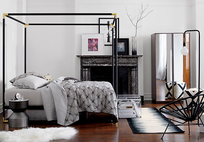 CB2 Frame Canopy Queen Bed $699 vs. Baxton Studio Industrial Black Canopy Bed $340, metal canopy bed look for less, copycatchic luxe living for less, budget home decor and design, daily finds, home trends, sales, budget travel and room redos